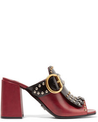 Prada Fringed Studded Leather Mules Claret