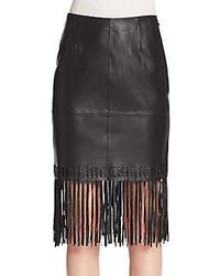 Elizabeth and james jaxson leather fringe pencil skirt medium 423027