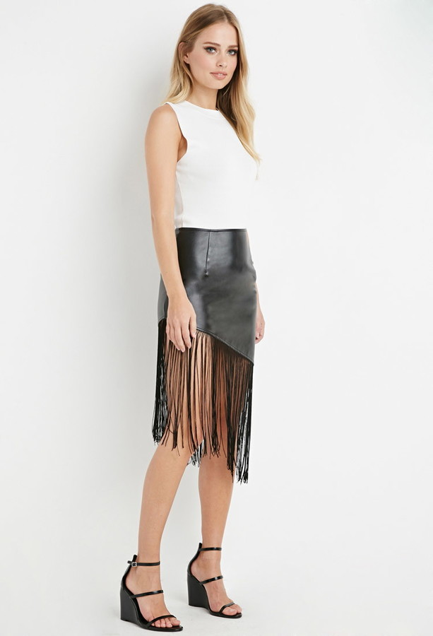 Forever 21 Fringed Faux Leather Skirt   Where to buy & how to wear