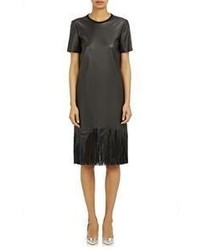Cedric charlier fringed faux leather dress black medium 319169