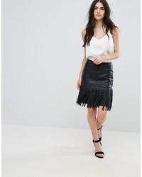 Vila Fringe Faux Leather Skirt