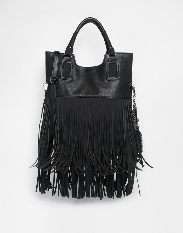 4c433c377f9 ... Black Fringe Leather Tote Bags Aldo Frosinone Fold Over Fringed Tote ...