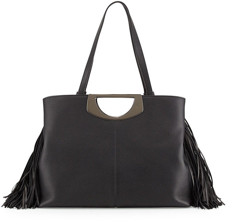 86e74729a1 ... Christian Louboutin Passage Medium Fringe Shopping Tote Bag Black ...