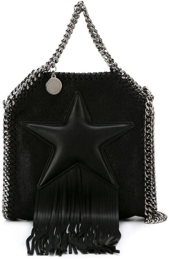 addeb1c281ae ... Black Fringe Leather Tote Bags Stella McCartney Tiny Falabella Fringed Star  Tote