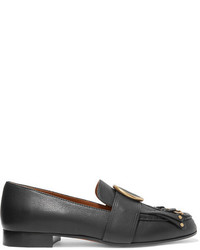 Chloé Olly Fringed Embellished Textured Leather Loafers Black