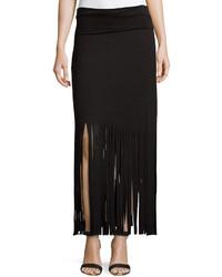Fringe trimmed maxi skirt black medium 187418