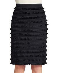 Black Fringe Pencil Skirt