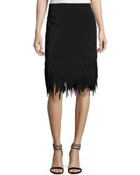 Brunello Cucinelli High Waist Fringed Hem Skirt Black