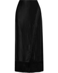Etro Wrap Effect Fringed Satin Midi Skirt