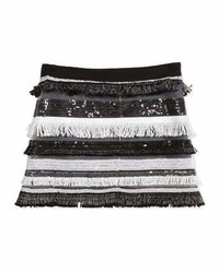 Milly Minis Sequin Tiered Fringe Mini Skirt Black Size 8 14