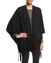 34 sleeve poncho wfringe black medium 384974