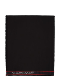 Alexander McQueen Black Logo Stole Scarf