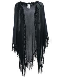Minnie Rose Cotton Fringe Shawl In Black