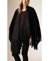Burberry Fringed Suede Poncho