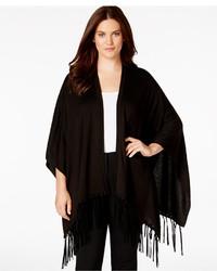 Calvin Klein Plus Size Faux Leather Fringe Knit Shawl