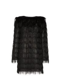 Balmain Sparkle Fringe Long Sleeve Mini Dress