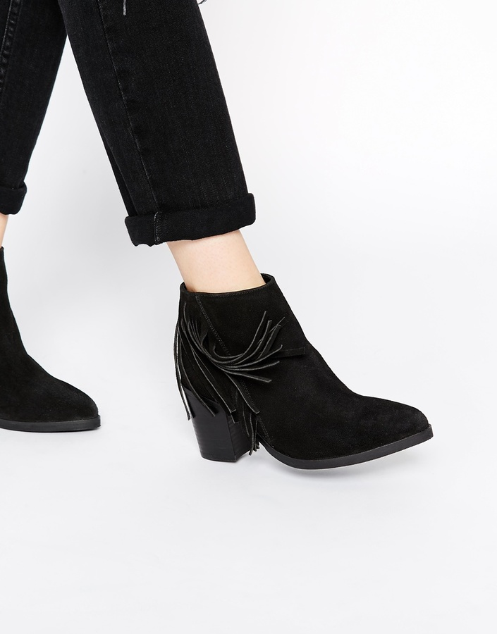 Asos Collection Riley Suede Western Fringe Ankle Boots   Where to ...