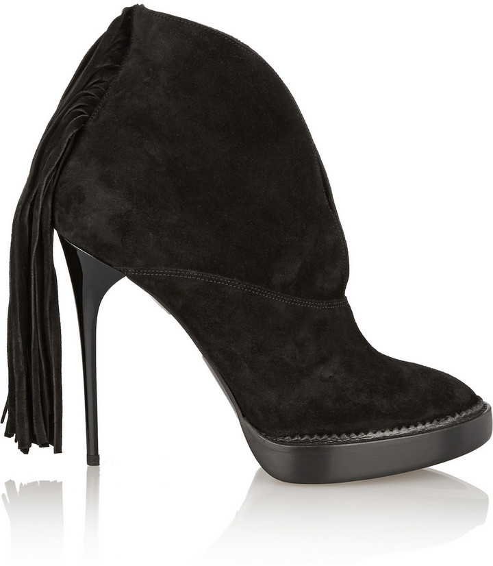 Burberry Prorsum Fringed Suede Ankle Boots | Where to buy & how to ...