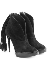 Burberry Prorsum Suede Platform Ankle Boots With Fringe