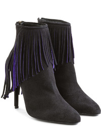 Tamara Mellon Suede Ankle Boots With Fringing