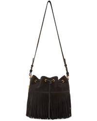 Black fringed medium emmanuelle bucket bag medium 319629