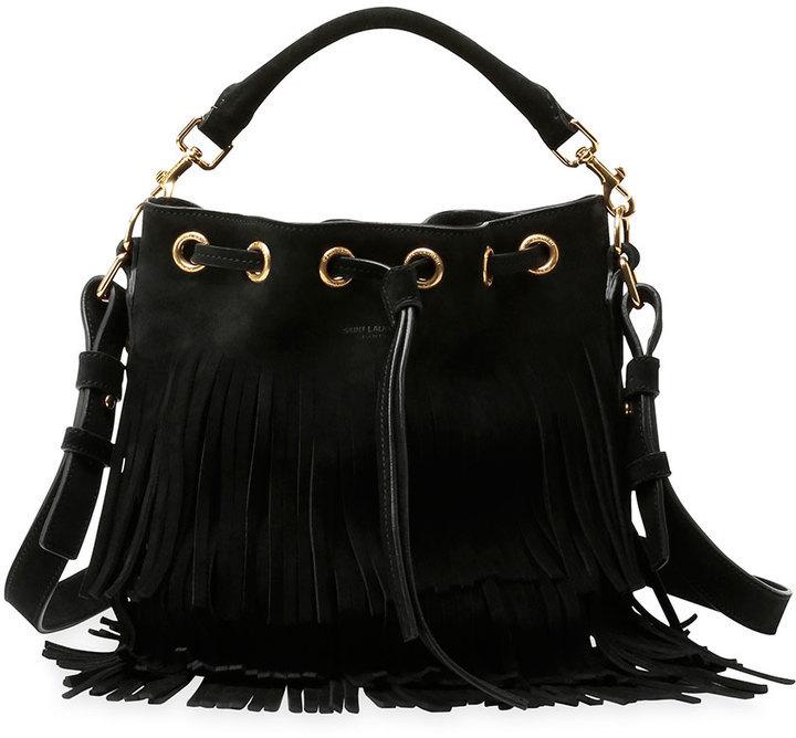 8ed56616de Saint Laurent Emmanuelle Small Suede Fringe Bucket Bag Black, $1,890 ...