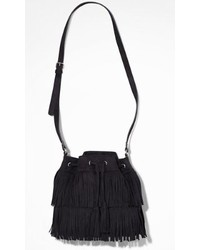 Express Fringed Drawstring Bucket Bag