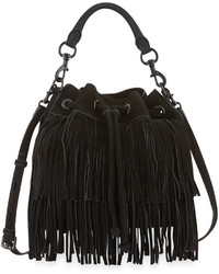 Fiona suede fringe bucket bag black medium 319619