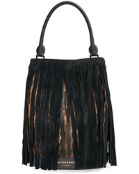Prorsum suede fringed genuine calf hair bucket bag medium 518416