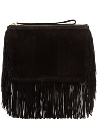 Pierre Hardy Black Fringed Suede Alpha Clutch