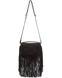 Pierre Hardy Black Suede Fringed Alpha Clutch