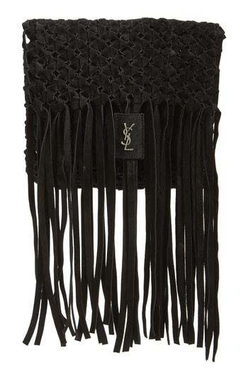 Saint Laurent Fringed Leather Clutch