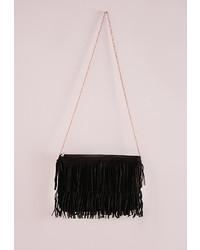 Missguided Tiered Fringed Suedette Clutch Black
