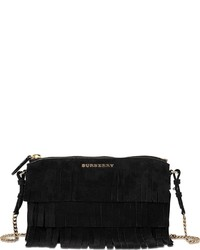Burberry Peyton Fringed Suede Clutch
