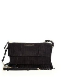 Burberry Peyton Fringed Suede Crossbody Bag