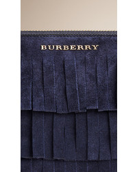 Burberry Suede Clutch Bag In Tiered Fringing