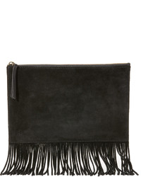 Madewell Suede Fringed Pouch Clutch