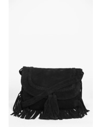Boohoo Boutique Kayla Suede Fringed Cross Body Bag