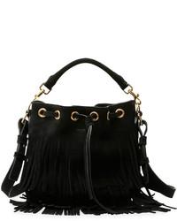 Saint Laurent Emmanuelle Small Suede Fringe Bucket Bag Black