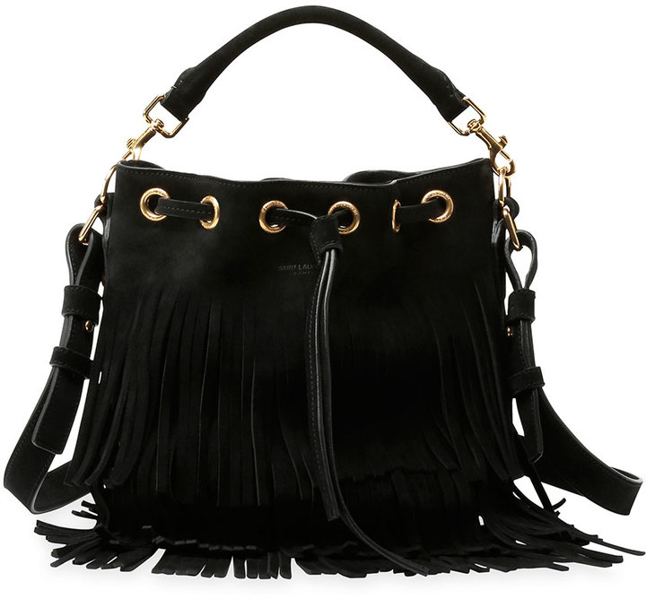 b1cec0157f ... Crossbody Bags Saint Laurent Emmanuelle Small Suede Fringe Bucket Bag  Black ...