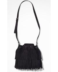 Express Fringed Drawstring Bucket Bag
