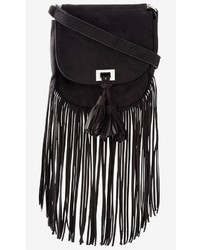 Express Fringed Faux Suede Cross Body Bag
