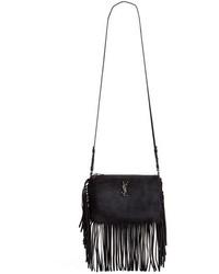Saint Laurent Fringe Suede Crossbody Bag Black