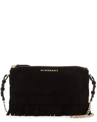 Burberry Peyton Fringed Suede Crossbody Bag Black