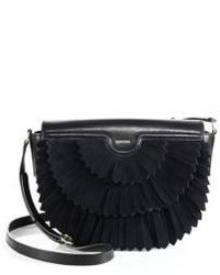 Agnona Polette Fringed Suede Leather Saddle Bag