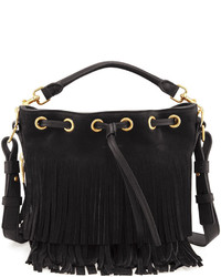 Saint Laurent Small Suede Fringe Bucket Bag Black