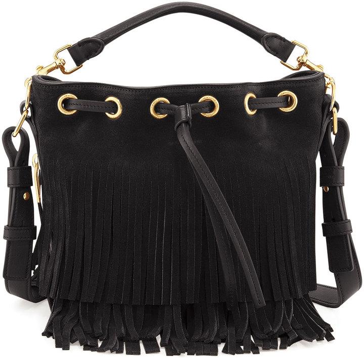 6163431292 Saint Laurent Small Suede Fringe Bucket Bag Black, $2,150 | Bergdorf ...