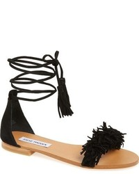 Black Fringe Suede Flat Sandals