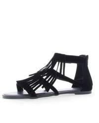 Bamboo Black Fringe Sandals