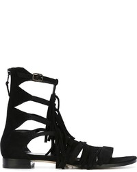 Stuart Weitzman Fringed Gladiator Sandals